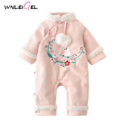 WLG winter baby girl print thick cotton single button o-neck new year warm pink clothes new born girl embroidery costume rompers
