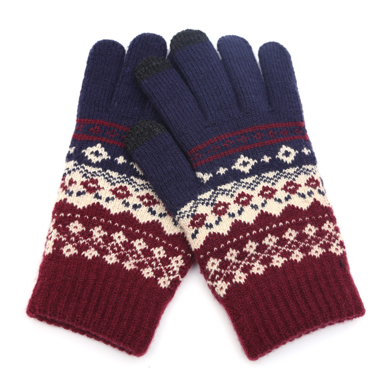 2020 Winter Warm thick touch screen gloves Women's wool Knitted Gloves Mittens for Mobile Phone Tablet Pad