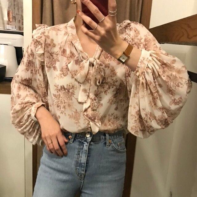 Ezgaga Blouse Women Korean Chic Sweet Lace Up V-Neck Floral Printed Long Lantern Sleeve Ruffles Ladies Shirts Fashion Blusas 6