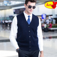 Wool 100% Pure Men Sleeveless Cardigan Sweater Knitting Navy Red Knitwear Male V Neck Casual Man Knitted Woolen Vest