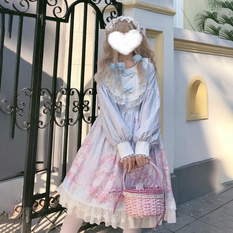 Harajuku Lolita Dress Cosplay Original Lolita Cat Daily Soft Sister Japanese Cute Lantern Long Sleeve Op Dress Autumn Winter