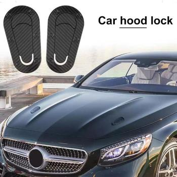 2PCS Universal Car Carbon Fiber Sticker For Hood Lock Racing Bonnet Decorative Lock Stickers For BMW Toyota Audi Opel Car Decal image