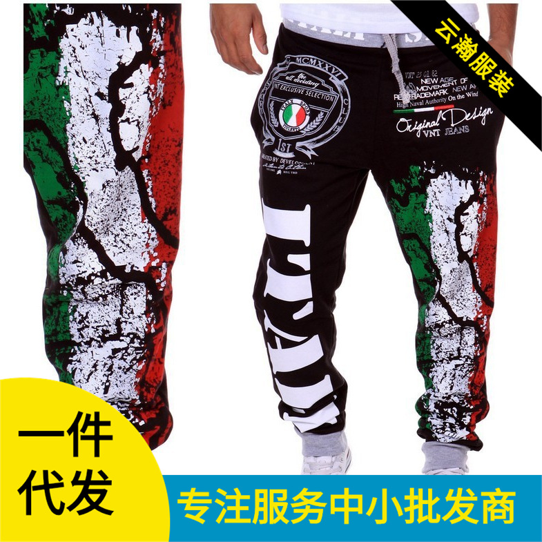 Hot Selling Athletic Pants Italy National Flag Printed Design Casual Athletic Pants-K05