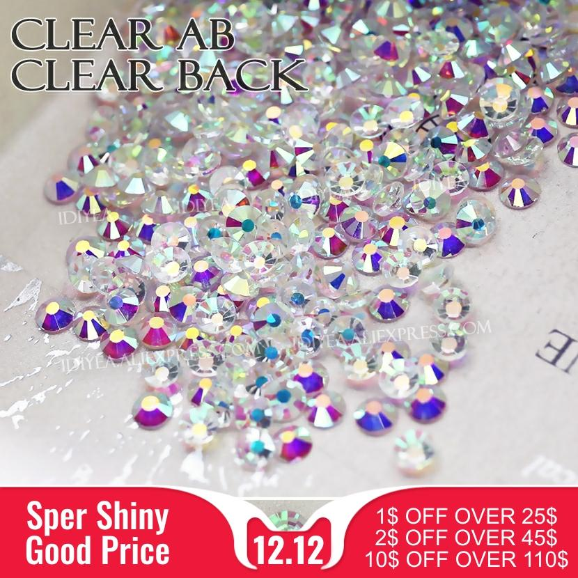 Clear AB back all sizes SS3-SS30 3D Nail Art Rhinestones for DIY manicure Non hotfix crystals glitters strass stones nails
