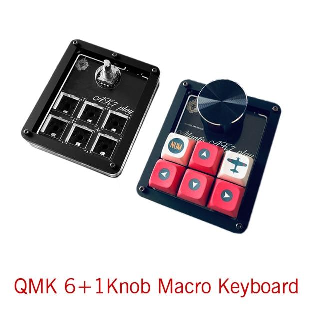 QMK Macro keyboard 6keys + Knob Designer PS keyboard Gamming Draw Programming Keyboard VIA Red White switch Hotswap 1