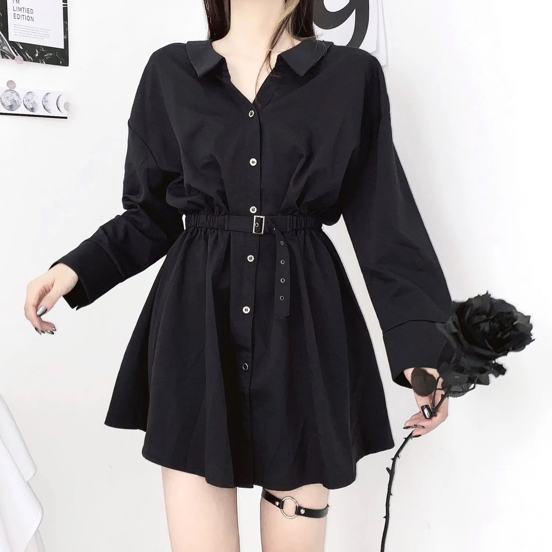Women dress demon girl original black spring and autumn 2021 sexy high waist femme dress shoulder long sleeve gothic dress A085 7