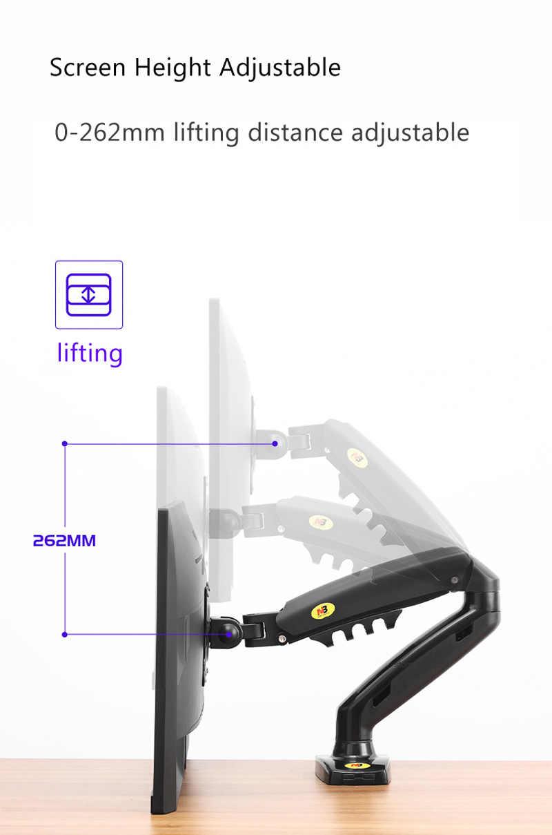 "NB جديد F80 + 2 قطعة USB3.0 17-27 ""سطح المكتب LED شاشات كريستال بلورية حامل الذراع الغاز الربيع الحركة الكاملة 2-9 كجم بيئة العمل الذراع المزدوج"