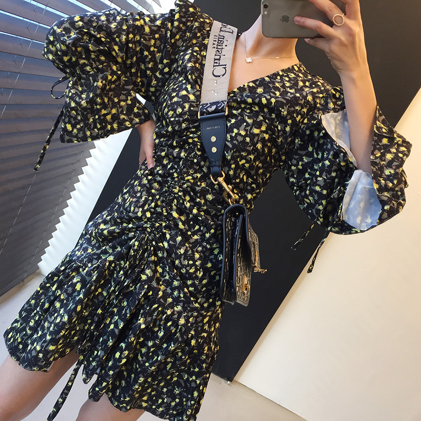 H3ac34769430b45c68cadd70bf2da3c50K - Autumn V-Neck Flare Sleeves Drawstrings Floral Print Mini Dress