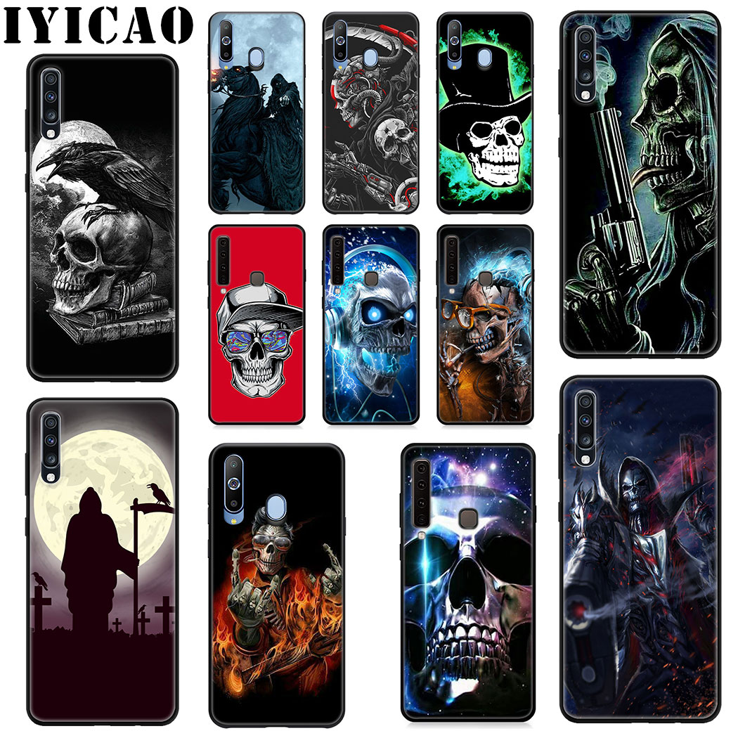IYICAO Grim Reaper Skull Skeleton Soft <font><b>Case</b></font> for <font><b>Samsung</b></font> Galaxy A9 A8 A7 <font><b>A6</b></font> 2018 <font><b>A6</b></font> Plus A3 A5 2016 <font><b>2017</b></font> J6 Phone <font><b>Case</b></font> image
