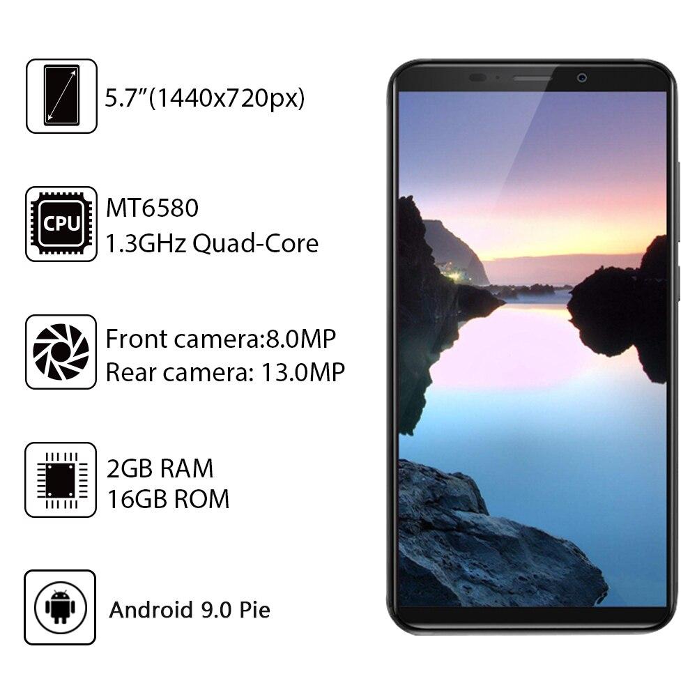 Cubot J7, 5,7 дюймов, 18:9 экран, Android 9,0, смартфон, MT6580, четыре ядра, 2800 мАч, для распознавания лица, отпечатков пальцев, две sim карты, мобильный телефон - 2