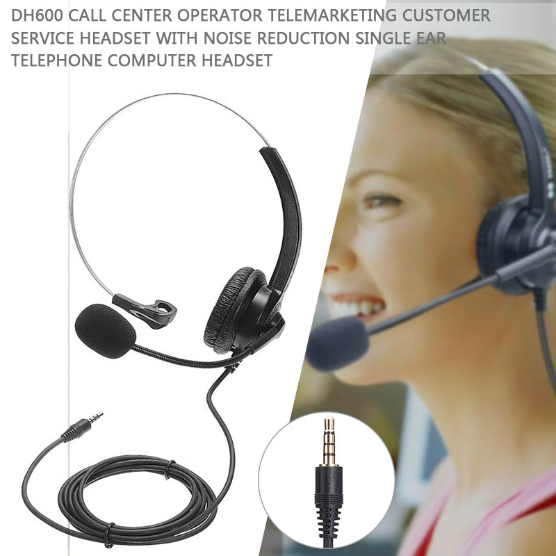 Professional <font><b>3</b></font>.5mm Wired Headset Noise Cancelling Headphone With Microphone For Call Center E-commerce company Salesman image