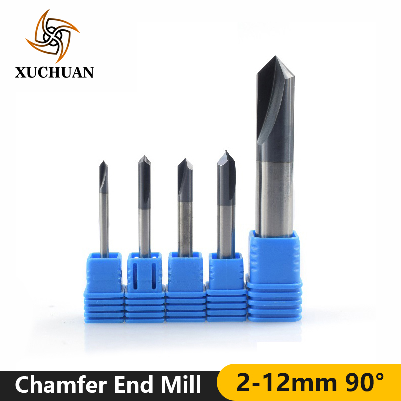 1pc 90 Degrees 2-12mm Chamfer Milling Cutter Carbide End Mill 2 Flutes Straight Chamfer Router Bit Chamfer Mill