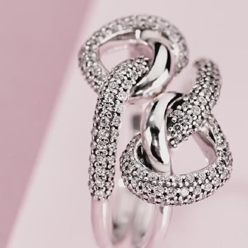 2020 New Hot sale 925 Silver Color Bow-Knot Finger Ring For Women Girls Sparkling Daisy Flower Crown Zircon Wedding Jewelry