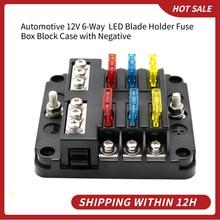 Plastic Cover Fuse Box Holder Automotive 12V 6 Way  LED Blade Holder Block Case with Negative for Auto Car Boat Marine Trike