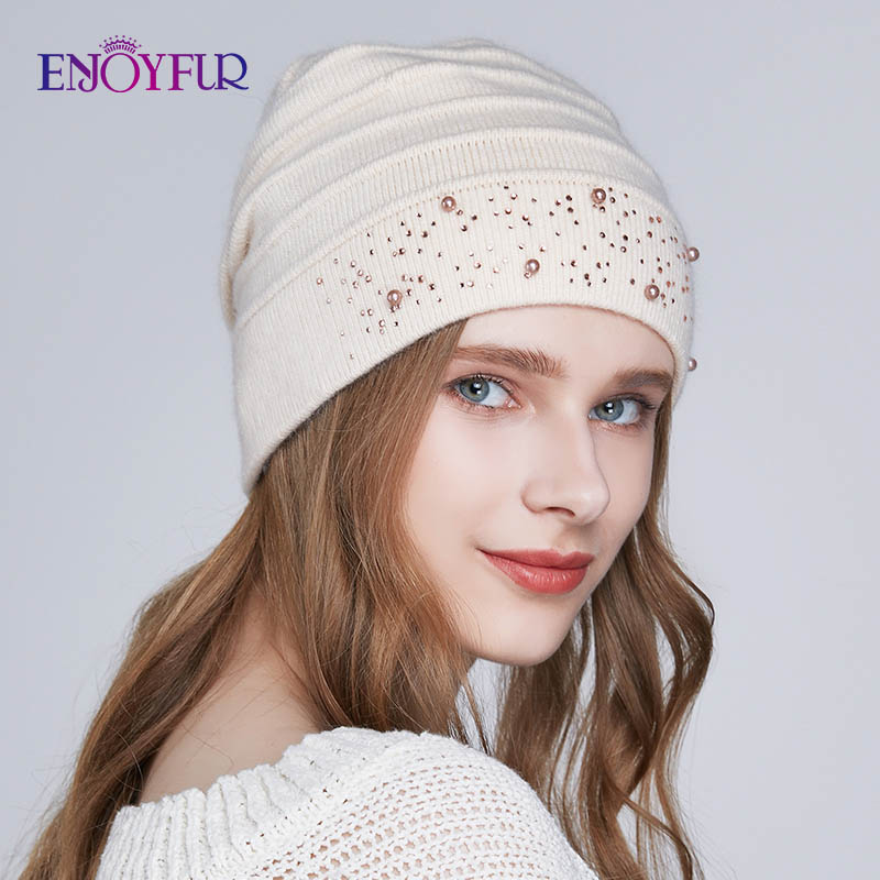 ENJOYFUR Winter Hats For Women Warm Wool Beanies Hat New Fashion Double Lining Caps With Rhinestones