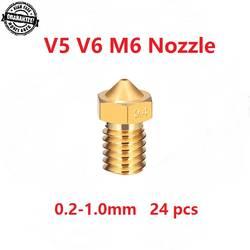 1 шт 3D-принтеры Запчасти V5 V6 M6 резное сопло 0,2 0,25 0,3 0,4 0,5 0,6 0,8 1,0 мм для 1,75 мм 3,0 мм filamnet металлический E3D Новый