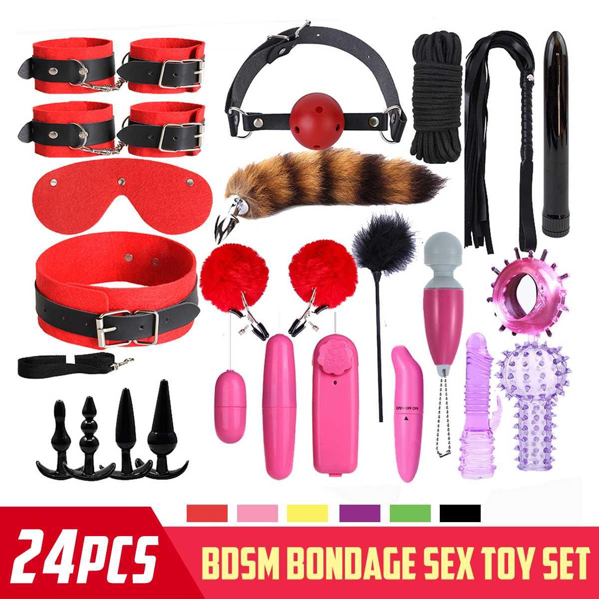 Azotes Al Culo €22.62 37% de descuento 24 uds juguetes sexuales para los hombres y las mujeres esposas abrazaderas de pezón látigo para azotes silicona sexual pluma