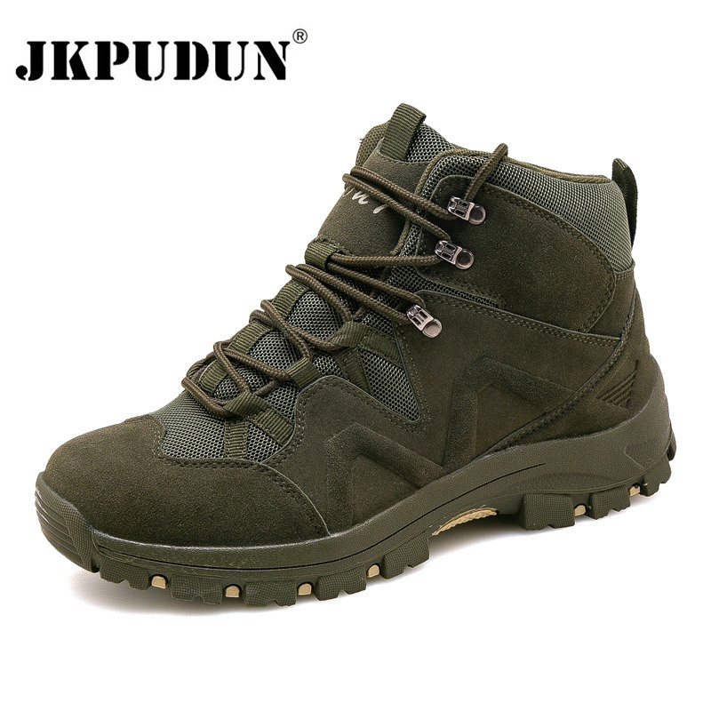 Winter Men Military Boots Quality Special Force Tactical Desert Combat Ankle Boats US Army Work Shoes Leather Snow Boots JKPUDUN