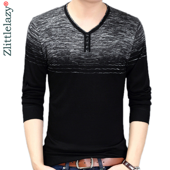black\grey striped mens pullover sweater