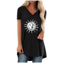 Sun Moon Anime Gothique T-shirt Vêtements D'été Pour Femmes Col en V À Manches Courtes T-shirts Surdimensionnés Chemises Lâches Haut Femme Футболка