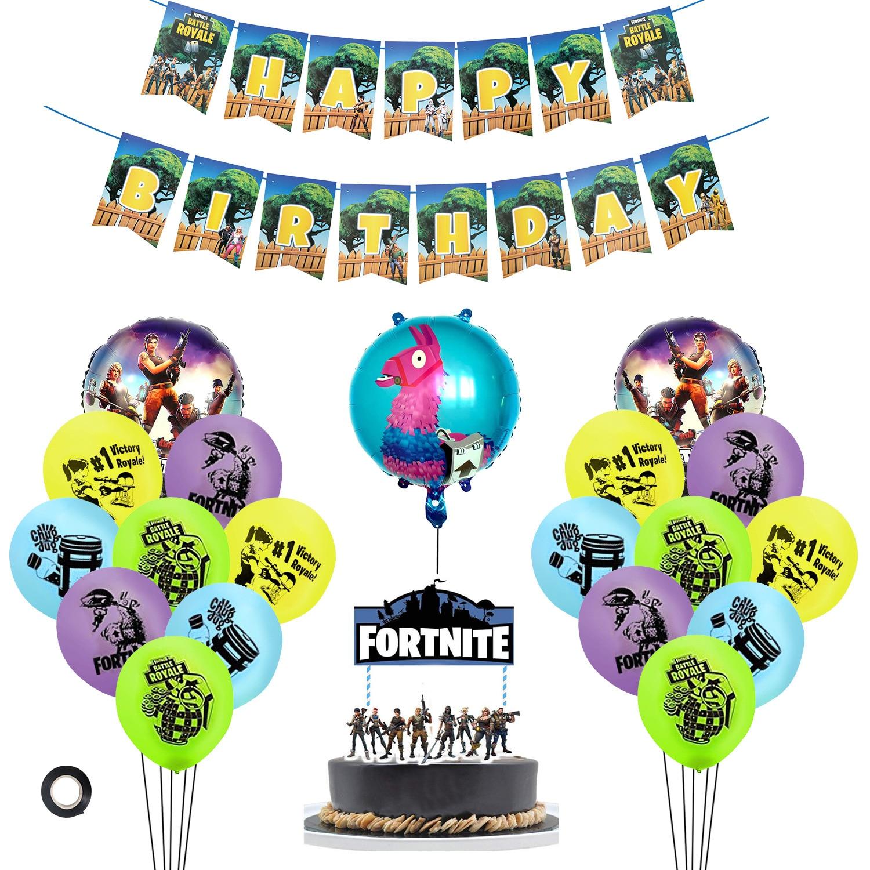 Fortnite Game Fortnite Balloon Birthday Pulling Banner Circle Aluminum Film Balloon Birthday Cake Inserting Card