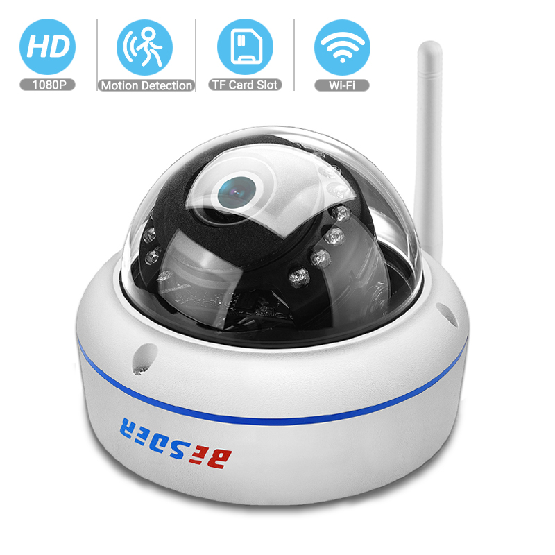 BESDER Wireless 2MP Audio IP Camera FHD 1080P Home Security Dome WiFi Camera Vandal-proof 64G TF Card Outdoor Camera ICsee P2P