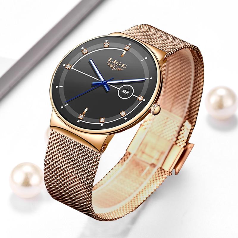 2020 New LIGE Fashion Ladies Watches Top Brand Luxury Simple Slim Watch Women Waterproof Mesh Belt Gold Watch Relogio Feminino
