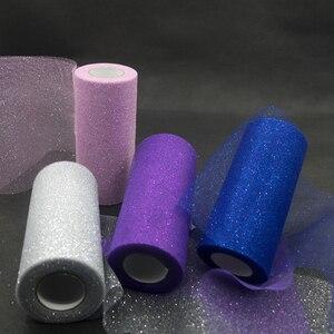 Image 5 - Rollo de tul de lentejuelas con purpurina, 25 yardas, decoración de boda, oro, láser, Organza, plata, brillante, lentejuelas, tul, suministros de fiesta