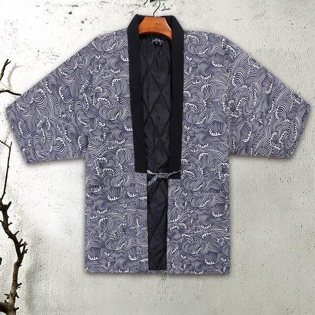 Japońskie kimono Haori Cardigan mężczyźni ciepłe ubrania na zimę gruba, pikowana styl ludowy azjatyckie ubrania Vestido Japones Japan Style Japon
