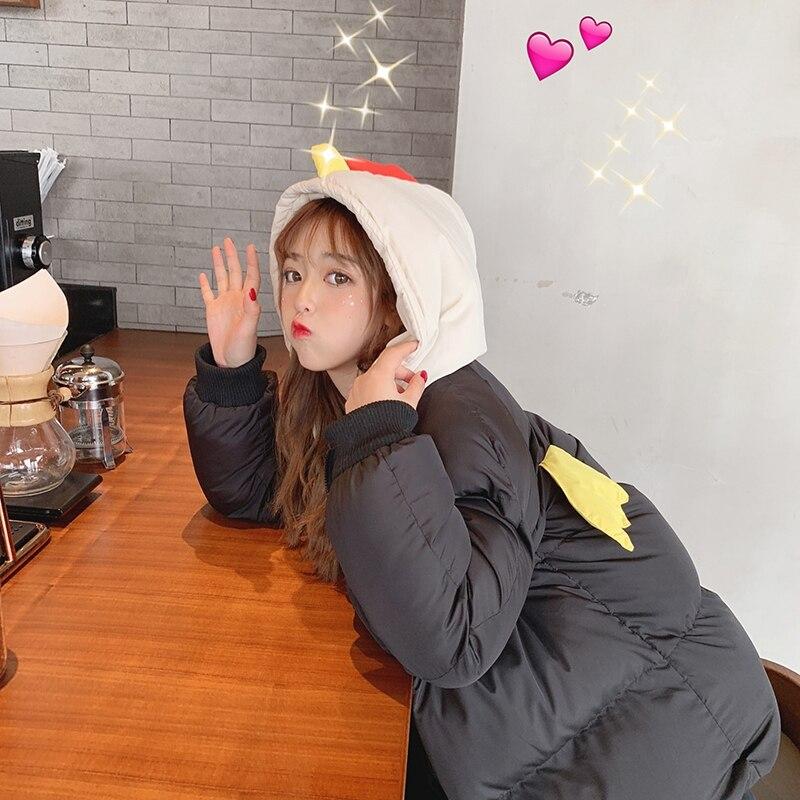 2019 Fashion Women Jacket Moving Little Wings Cute Girl Cartoon Winter Keep Warm Women Coat Parkas Women Jacket