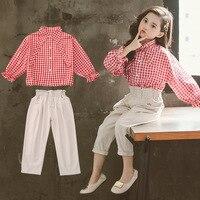 2019 Autumn Girls Clothing 2Pcs Sets For Girls Clothes Bow Tie Plaid Blouses+Ankle Length Pants School Children Outfits 4 13T