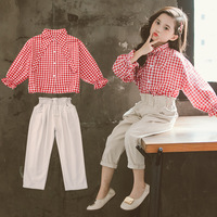 2019 Autumn Girls Clothing 2Pcs Sets For Girls Clothes Bow Tie Plaid Blouses+Ankle Length Pants School Children Outfits 4 13T
