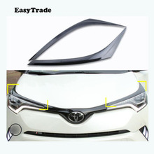 For Toyota CHR C-HR Accessories 2019 2018 Carbon Fiber Headlight Eyebrows Eyelid Trim Car styling Eye Lid Cover Decoration