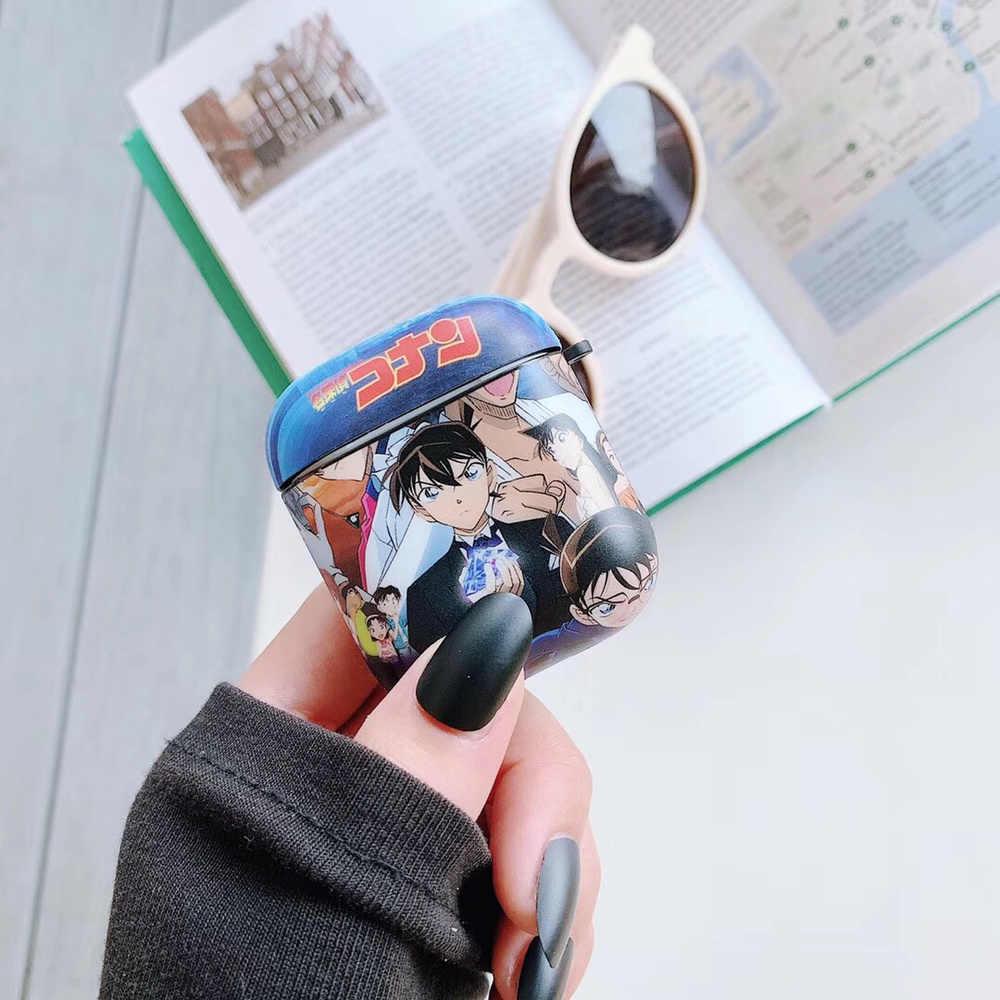 Garçon Style dessin animé détective Conan mode doux casque étui pour Apple Airpods étui 1/2 couverture sans fil Bluetooth étui pour écouteurs