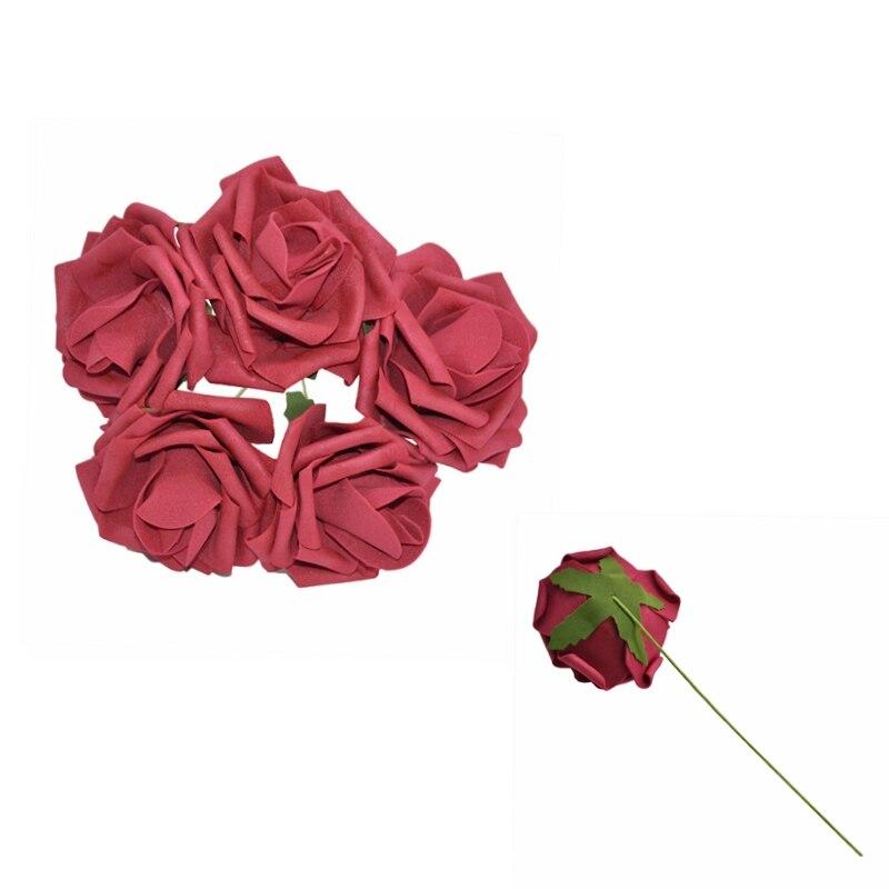 10 шт. 8 см большие ПЭ пенные цветы искусственные розы цветы Свадебные букеты Свадебные украшения для вечеринки DIY Скрапбукинг Ремесло поддельные цветы - Цвет: Burgundy