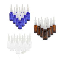 30 Pieces 30ml Glass Empty Nasal Pumps Spray Bottle Mist Sprayer Nose Personal Care, Refillable/Reusable, Brown+Clear+Blue