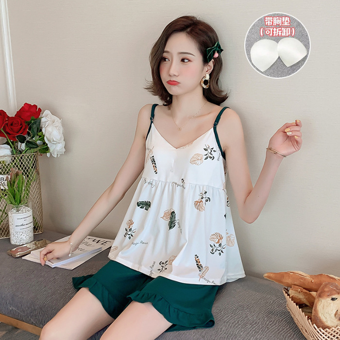 (Figure Photo Protection) 2019 New Style Camisole Blackish Green Leaf Chest Pad Set (Chest Pad Deconstructable)