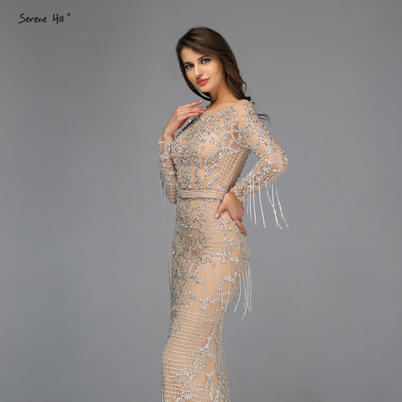 Image 4 - Dubai Luxury Long Sleeve Sparkle Tassels Evening Dresses 2020 Sequined Beading Sexy Robe De Soiree Plus Size BLA60707Evening Dresses   -