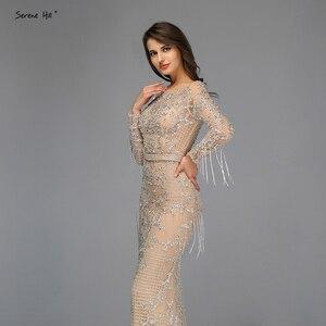 Image 4 - Dubai Luxury Long Sleeve Sparkle Tassels Evening Dresses 2020 Sequined Beading Sexy Robe De Soiree Plus Size BLA60707