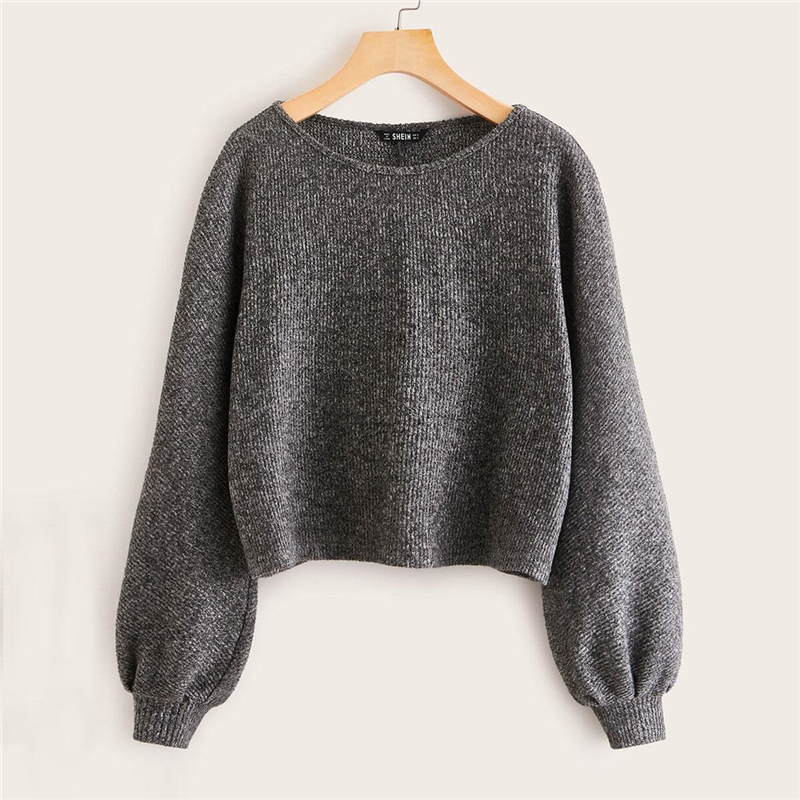 SHEIN Grey Boat Neck Ribbed knit Casual Top Women Autumn High Street Bishop Sleeve Office Ladies Basic T-shirts 6