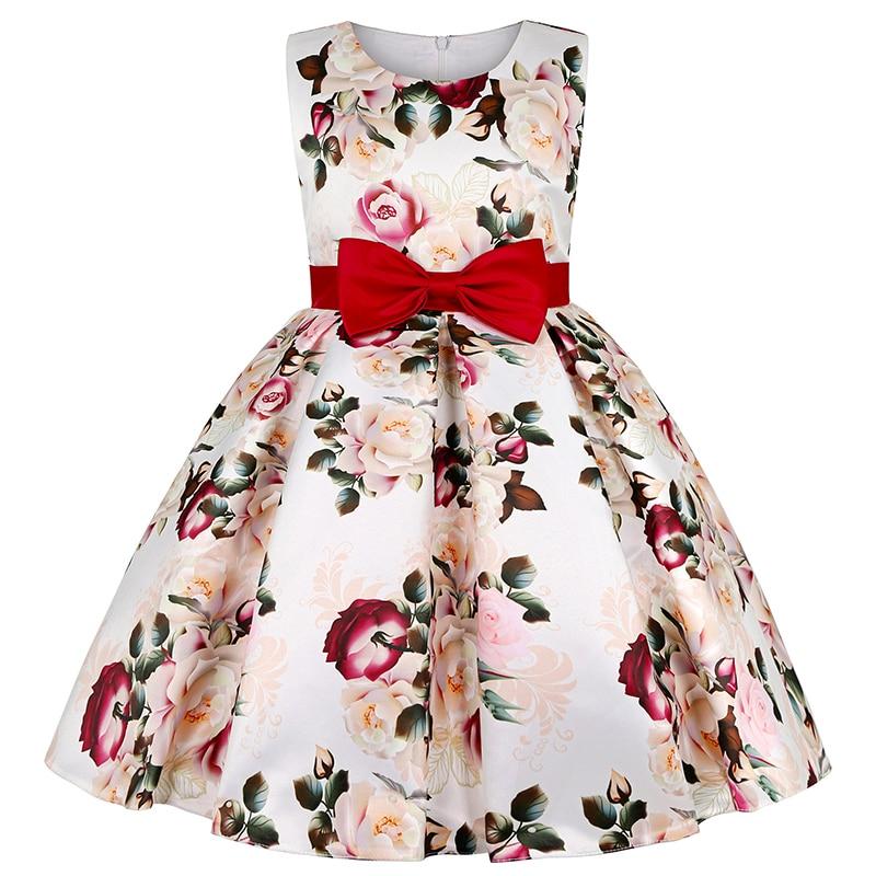 Princess Baby Girls Dot Flower Elegant Wedding Party Dresses Toddler Girl Christmas Vestidos Formal Dress Children Kids Clothing 4