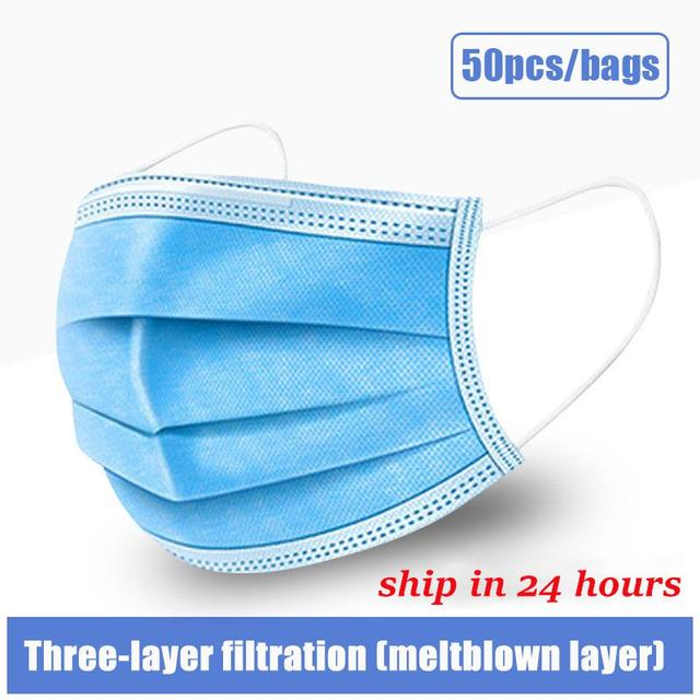 10pcs/50pcs/100pcs Disposable Mask Mouth Mask Non-woven Melt Blown Three-layer Mouth Mask