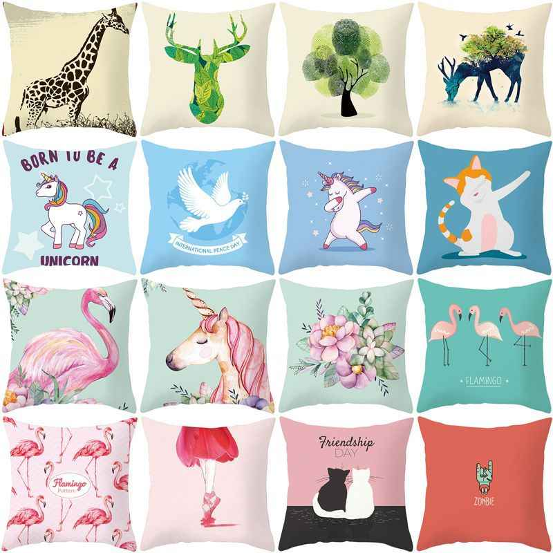 Lovely Unicorn Flamingo Mermaid พิมพ์ 45x45 ซม.ตกแต่งหมอนปลอกหมอน Home Drop Shipping Fast Shipping