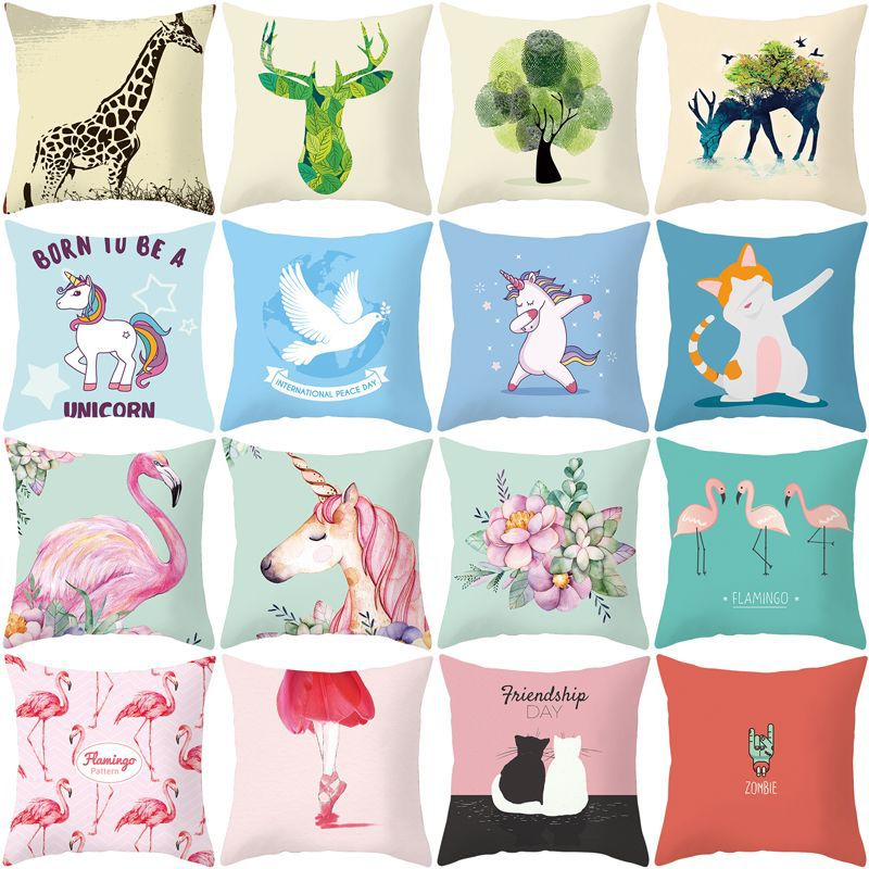 Lovely Unicorn Flamingo  Mermaid Print 45x45cm Decorative Pillows For Pillowcase Home Drop Shipping Fast Shipping