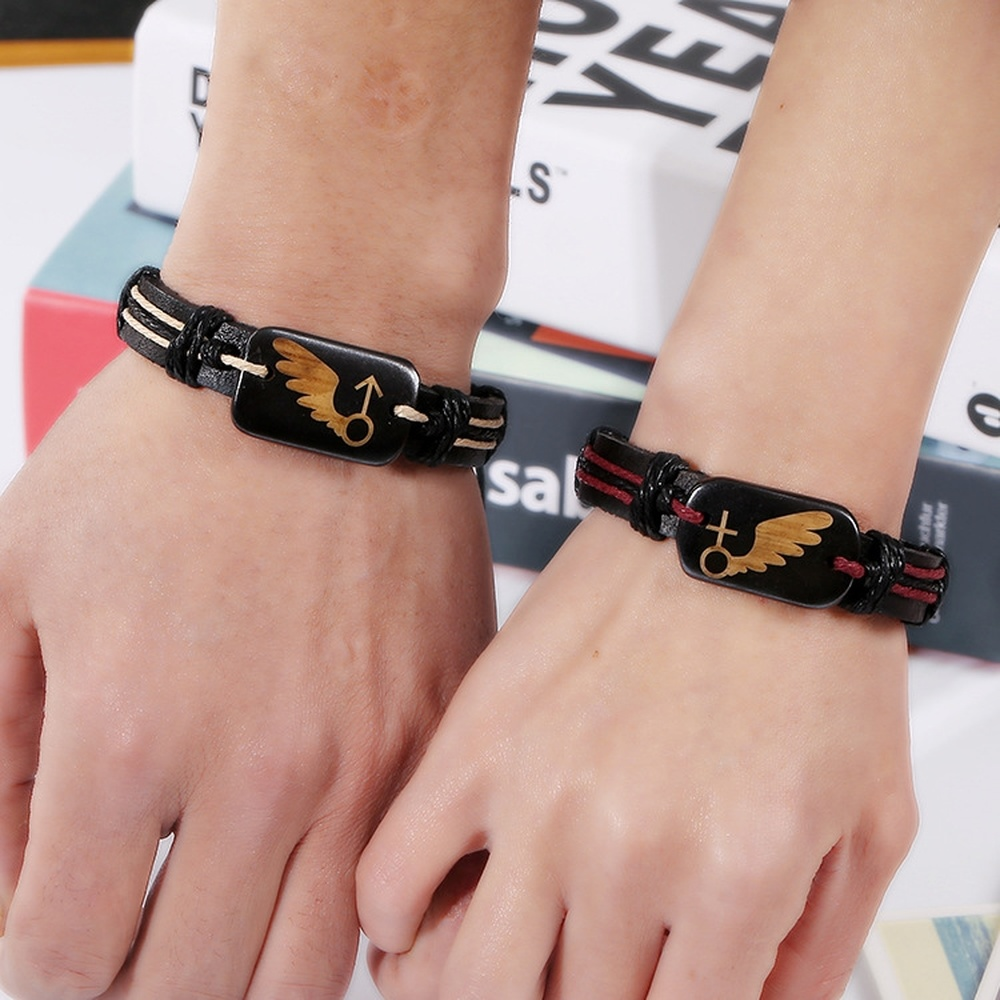 2019 New Couple Jewelry Bracelet Valentine's Day Gift Beef Bone Wings PU Vintage Braided Bracelet Fashion Jewelry Accessories