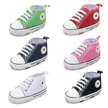 Nova lona esportes clássicos tênis recém-nascidos do bebê meninos meninas primeiros caminhantes sapatos infantil criança sola macia anti-derrapante sapatos de bebê