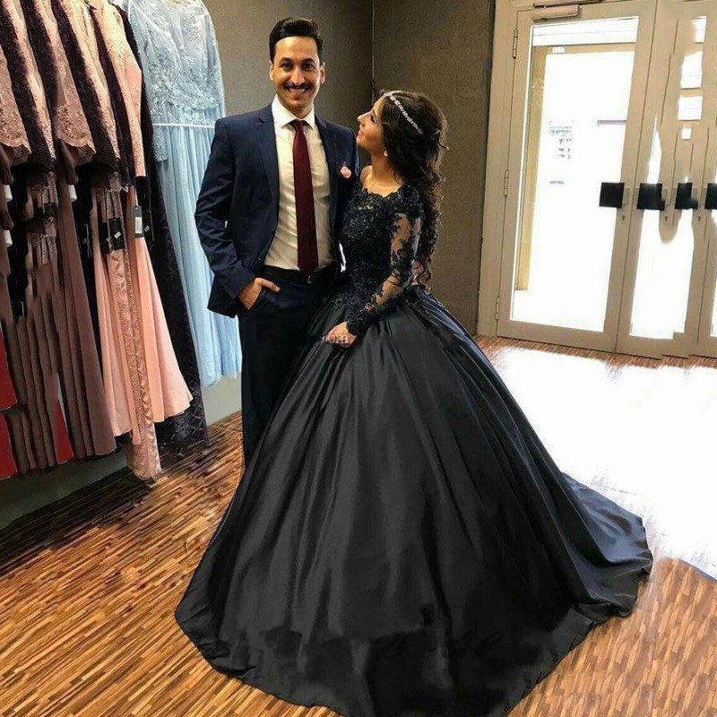2019 Vintage Ball Gown Black Wedding Dresses Satin Long Sleeve Beading Lace Bridal Gowns Wedding Gown Vestido De Novia