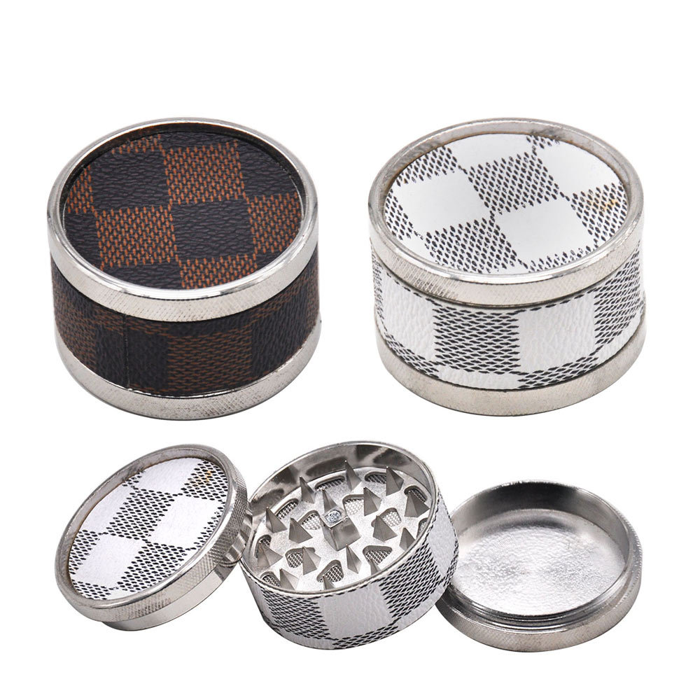 Leather & Metal Smoking Grinder 53MM 3 Piece With Shark Teeth Zinc Alloy Tobacco Herb Grinder Handmade Crusher