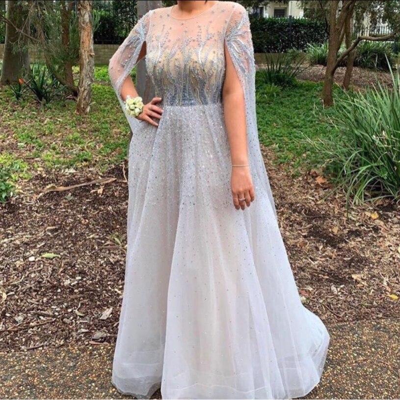 Long Sleeves Celebrity Dress Elegant Beaded Sweep Train Red Carpet Formal Evening Gowns Sheer Back Designer Crystals Prom Wear