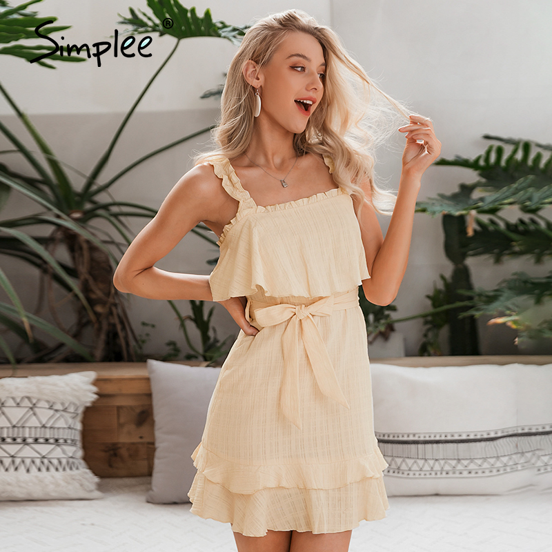 Simplee Summer Sleeveless Sexy Dress Ruffled Solid Plaid Sash Cotton Holiday Dress Ladies Holiday Beach Party Sundress Vestidos